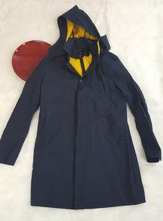 HM Mens Jacket Size 44R Blue Vented Trench Coat Rain Jacket oBCL #HM #Rainwear