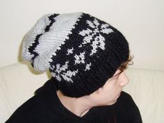 Hand Knit Slouchy Beanie HatBlack GreyMan Woman by earflaphats, $35.00