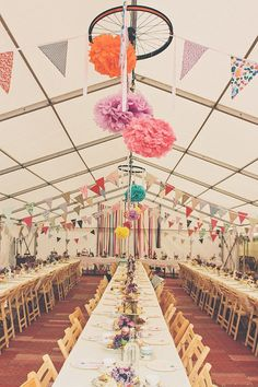 Marquee Bunting Pom Poms Ribbon Backdrop Rainbow Railway Vintage 1950s Home Made Wedding http://www.jessicawitheyphotography.com/