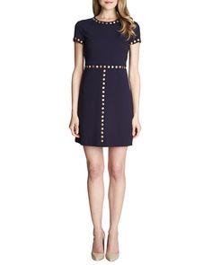 TAXE3 Cynthia Steffe Sophia Short-Sleeve Stud-Trim Dress