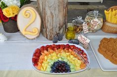 Eeyore's cheer up rainbow. A fruit platter for a Winnie the Pooh in the Hundred Acre Woods Birthday Party Ideas | Photo 29 of 29 | Catch My Party