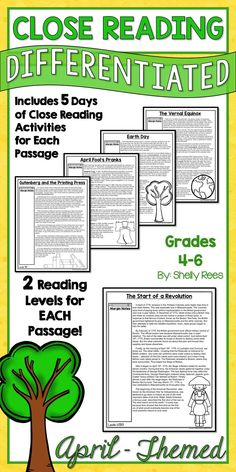 April-Themed Close Reading - Everything a teacher needs to do a Close Reading Unit in the month of April! LOVE this! Close Reading Guide, Differentiated Passages, Close Reading Activities, Writing Activities, and More. SO complete for Grades 4-6!