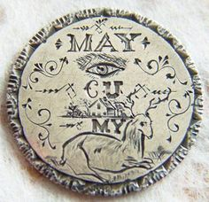 "Hand-engraved love token reads, ""May I see you home my dear?"" (See Victorian escort card I have pinned with actual rebus this was taken from.)"