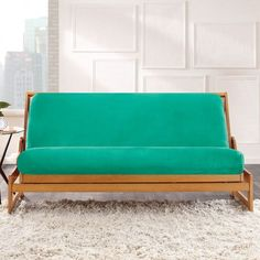 Awesome Queen Futon Bed With Black Mattress And 2 White Cushions ...