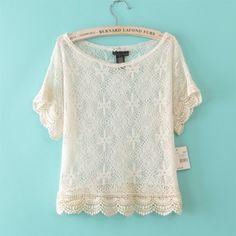 Loose Short Sleeve Lace Beige crochet hollow Blouses