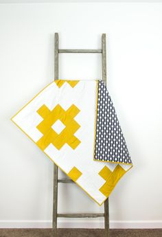 Baby quilt yellow white navy blue aztec by abbeyshousequilts