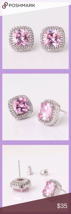 Princess Cut Pink Swarovski Crystal Earrings GORGEOUS Princess Cut Pink Swarovski Crystal Studs surrounded by clear crystals and set in 18K White Gold Filled Settings, Stone size is approx. 3 Carats Boutique Jewelry Earrings