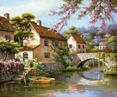 """Full Square Diamond DIY Diamond Painting """"Beautiful scenery"""" Embroidery Cross Stitch Rhinestone Mosaic Painting Home Decor Oil Painting On Canvas, Diy Painting, House Painting, Water People, Countryside Landscape, Cross Stitch Landscape, Diamond Art, Diamond Cross, Cross Paintings"""