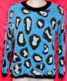M 10/12~Soft Long Hair Leopard Design Sweater Top~Punk~Gothic~Rockabilly~Retro #Kadence #PulloverSweaterTop #Casual