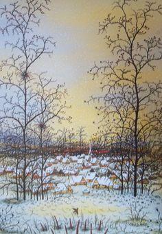 Zima (Winter) by Ivan Lackovic Croata #naive_art  #croatia