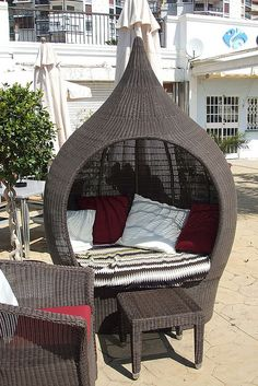 Domus Wicker Cocoon Chair in beach at Marbella Spain Marbella Spain, Outdoor Furniture, Outdoor Decor, Hanging Chair, My Dream Home, The Great Outdoors, Exterior Design, Rattan, Outdoor Living