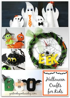 Halloween Crafts for Kids, from a Ghost Family to an EEK Wreath, even burlap wrapped lollipops, cute projects kids can make!
