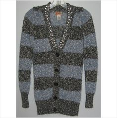 Ladies blue/black striped sweater, Size-Extra Small