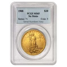 1908 $20 Gold St. Gaudens Double Eagle Coin No Motto PCGS MS 65