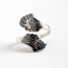 Vintage Sterling Silver Siam Bypass Black Niello Fan Ring - Adjustable Size 7 Thailand Nielloware Mekkala & Ramasoon Statement Jewelry by Maejean Vintage on Etsy