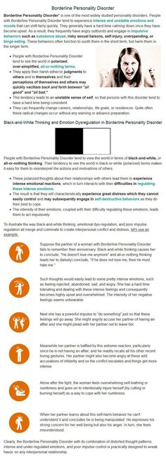 Borderline Personality Disorder and a very good explanation of the Black and White thinking.