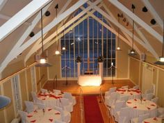 Ceremony and Reception in same room/area. I think I will be doing this and I like the angle of the chairs the just switch them back for dinner