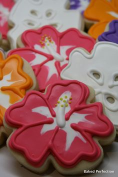 hibiscus cut out cookies. My mother in law would have loved these. :-) <3