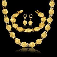 Vintage Women Allah Sets Necklace Bracelet Earrings For Women Gold Color Islamic Religion African Muslim Jewelry Set