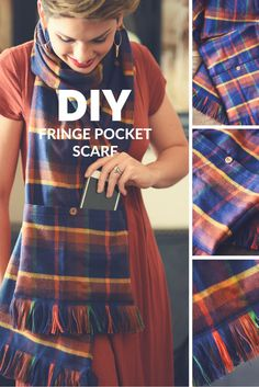 This Quick and Easy DIY Fringe Pocket Scarf Is a Fun and Fabulous Way to Walk the City Without the Bulk of a Purse! Carry All Your Necessities & Look Great!