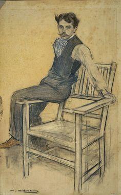 Portrait of Eduard Marquina by Ramon Casas - Cd Paintings Guy Drawing, Figure Drawing, Portrait Art, Portraits, Modernisme, Art Graphique, Vintage Artwork, Art Techniques, Cool Drawings