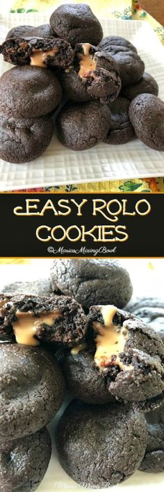 Easy Rolo Cookies are so easy to make! cake mix and Rolo candies make this a favorite cookie in our house! Sometimes we make a double batch! #easy #rolo #cookies #familyfavorite #doublebatch #kidfriendly #freezerfriendly