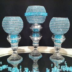 Beautiful 3 Piece Set Turquoise and Diamond Bling Candle Holder a great piece for any occasion wedding gift, or a centerpiece for a table decor will brighten any room or event. One Of A Kind Hand Design One set of 3 in 9 in, 9 inches tal. Bling Wedding Centerpieces, Bling Centerpiece, Glass Centerpieces, Princess Centerpieces, Centerpiece Ideas, Vases Decor, Wedding Gift Bags, Wedding Favors, Wedding Glasses