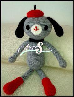 peluche perro gris, amigurumi perro gris, tejido por artesesa