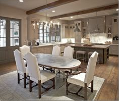COTE DE TEXAS: The Southern Acadian House.  Sleek yet suitable lighting for traditional/transitional kitchen