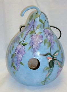 Hummingbird with Wisteria Flowers Gourd by FromGramsHouse on Etsy