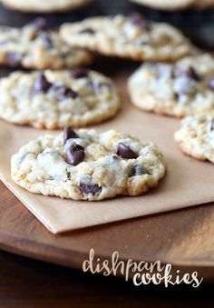 These Dishpan Cookies have a perfectly soft and chewy center with slightly crispy edges. They're loaded with oats, cornflakes, coconut and chocolate chips for an amazing texture and flavor!
