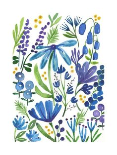 Giclee Print: Blue Flowers by Elizabeth Rider : Easy Watercolor, Watercolor Cards, Watercolour Painting, Floral Watercolor, Simple Watercolor Flowers, Watercolors, Flower Frame, Flower Art, Cactus Flower
