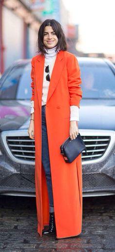 Leandra medine manrepeller bright orange overcoat