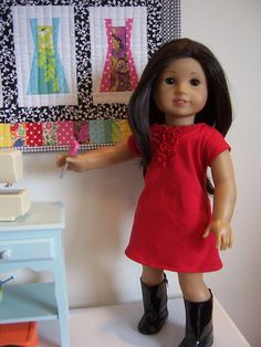 That Red Dress    American Girl Doll Clothes Pattern: Ruffled Tee-Shirt Dress by Heritage Doll Fashions    See the video at:    animoto.com/play/bHz0Pd0UAiS6x6vHjRspJA
