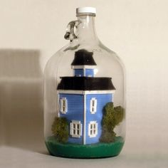 Miniature Victorian House In A Bottle by DanaMiniArt on Etsy