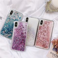 Fashion Liquid Quicksand Bling Glitter Sparkle Clear Shockproof Soft TPU Silicone Case for iPhone 5 5S SE 6 7 8 X Plus Samsung Galaxy S6 S7 Edge S8 S