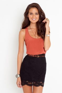 Black lace skirt with Coral.