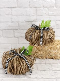 5 Minute Twine Pumpkins to Create for Fall - Creatively Beth Family Crafts, New Crafts, Holiday Crafts, Holiday Ideas, Pumpkin Crafts, Diy Pumpkin, Fabric Christmas Trees, Fabric Tree, Christmas Stencils