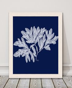 Nautical home decor, coastal living ideas, statement piece, ocean painting, blue room decor, seaweed print - Seaweed 4 white on navy blue