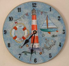 Decoupage clock nautical theme on vinyl LP record - paint effects by Tina Schilling