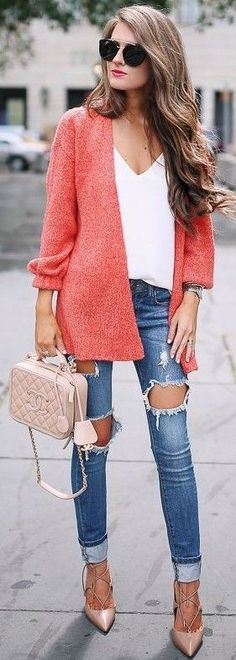 #summer #musthave #trends | Coral Jacket + White Top + Jeans