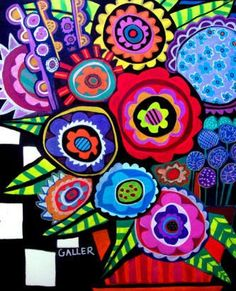 Flower Art Floral Painting - Abstract Modern Flowers Folk Art Colorful Black and White Checks PRINT POSTER PAINTING - Wedding Gifts. $24.00, via Etsy.