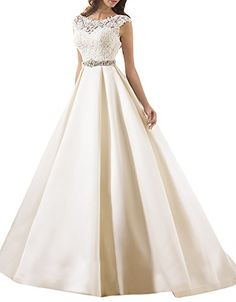 Lilybridal Womens Aline Satin Lace Bridal Wedding Dress 2016 with Buttons Ivory US6 *** You can get more details by clicking on the image.