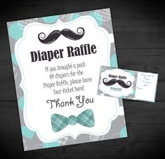 Little Man Baby Shower Diaper Raffle Insert And Sign   Mustache Party    Moustache   Bow