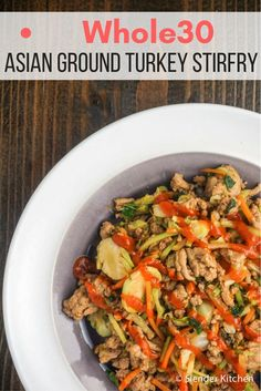 Whole30 Asian Ground Turkey Stir-fry - Slender Kitchen. Works for Clean Eating, Gluten Free, Low Carb, Paleo, Weight Watchers® and Whole30® diets. 416 Calories.