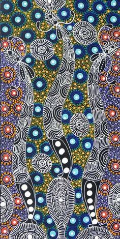 Australian Aboriginal Art Dot Paintings Dreamtime Sisters By Coleen Wallace Nugari