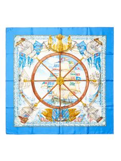 Blue Vive Le Vent Scarf 90cm from Sail Away: Chic Seaside Accessories on Gilt