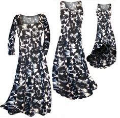 NEW! Customize Black & Gray Abstract Floral Slinky Print Plus Size & Supersize Standard or Cascading A-Line or Princess Cut Dresses & Shirts, Jackets, Pants, Palazzo's or Skirts Lg to 9x