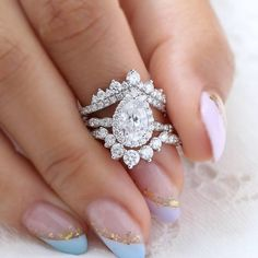 Here's a luxury choice for you ~ should this Luna halo ring in scalloped w/ pear moissanite ring stack with just Large tiara diamond ring in v shaped pave band(top)? Or pair with Large 7 diamond in deep curved scalloped band (below)? Or stack them as this gorgeous trio ring stack? We'll love to know your stacking idea!!????... Dream Engagement Rings, Alternative Engagement Rings, Pear Shaped Diamond Ring, Diamond Rings, Stackable Wedding Bands, Dream Ring, Conflict Free Diamonds, Ring Designs, Wedding Jewelry