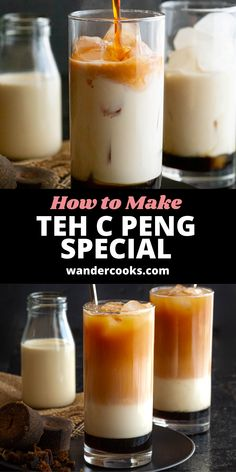 The popular Malaysian Teh C Peng Special recipe is here! This stunning 3 layer tea is icy and sweet, ready to cool you down on a hot day. Made from gula melaka syrup, evaporated milk and strong black tea – yum.